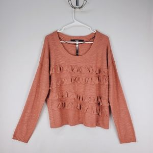 Kensie   coral ruffle front knit sweater